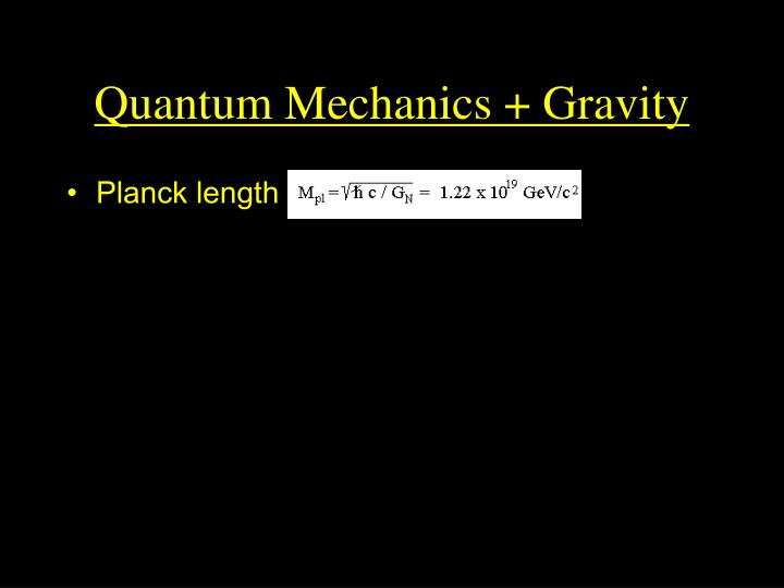 Quantum Mechanics + Gravity