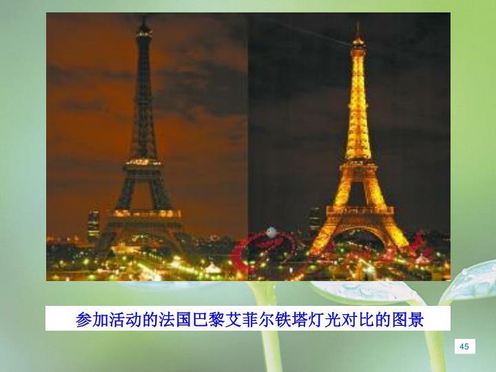 参加活动的法国巴黎艾菲尔铁塔灯光对比的图景