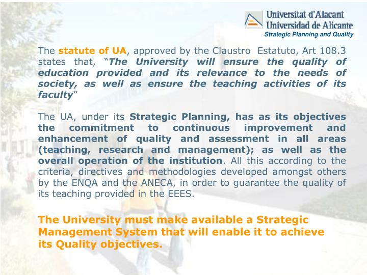 Strategic Planning and Quality