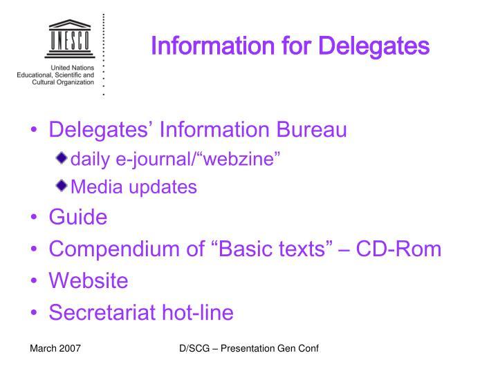 Information for Delegates