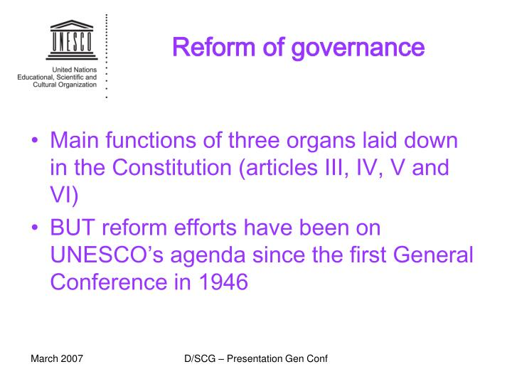 Reform of governance