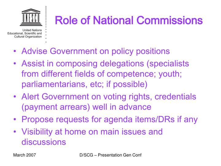 Role of National Commissions