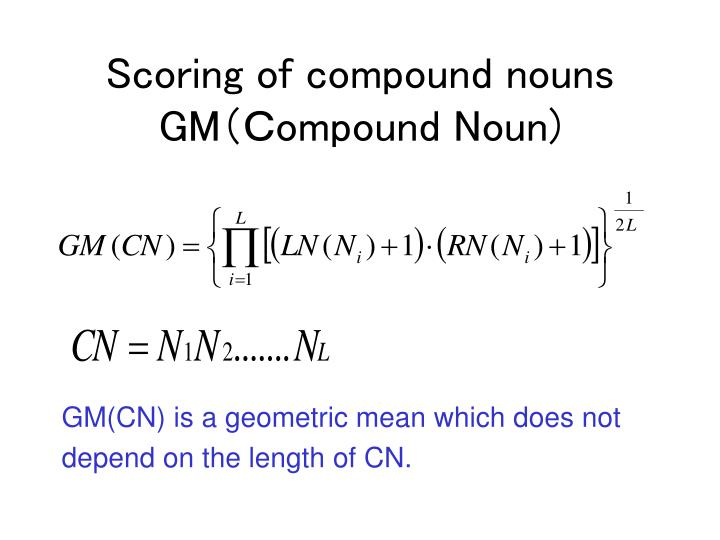 Scoring of compound nouns