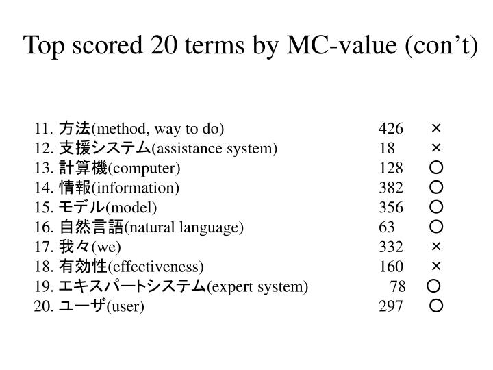 Top scored 20 terms by MC-value (con't)