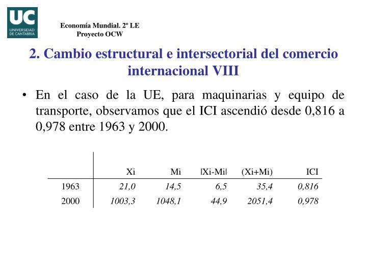 2. Cambio estructural e intersectorial del comercio internacional VIII