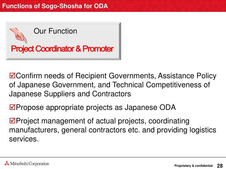 Functions of Sogo-Shosha for ODA