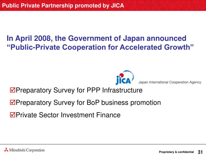 Public Private Partnership promoted by JICA