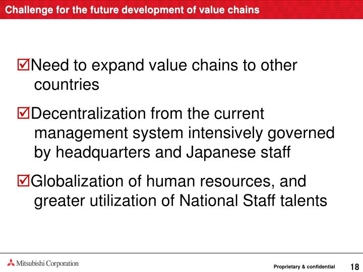 Challenge for the future development of value chains