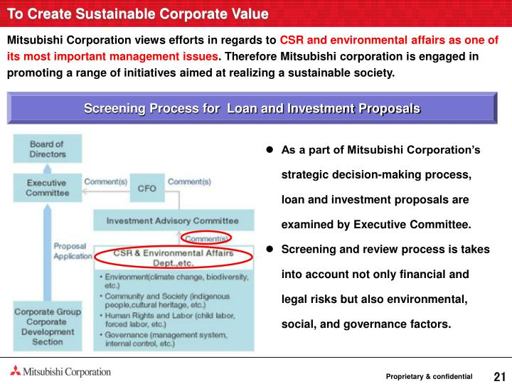 To Create Sustainable Corporate Value