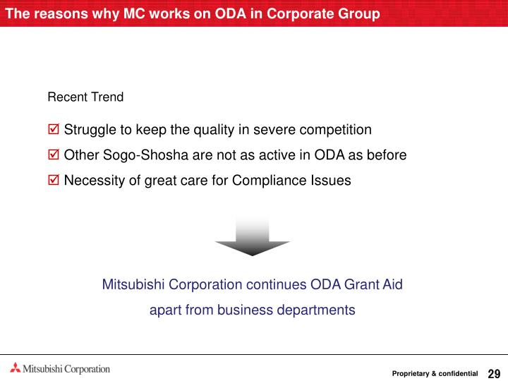 The reasons why MC works on ODA in Corporate Group