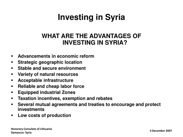 Investing in Syria
