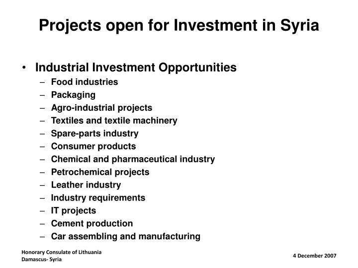 Projects open for Investment in Syria