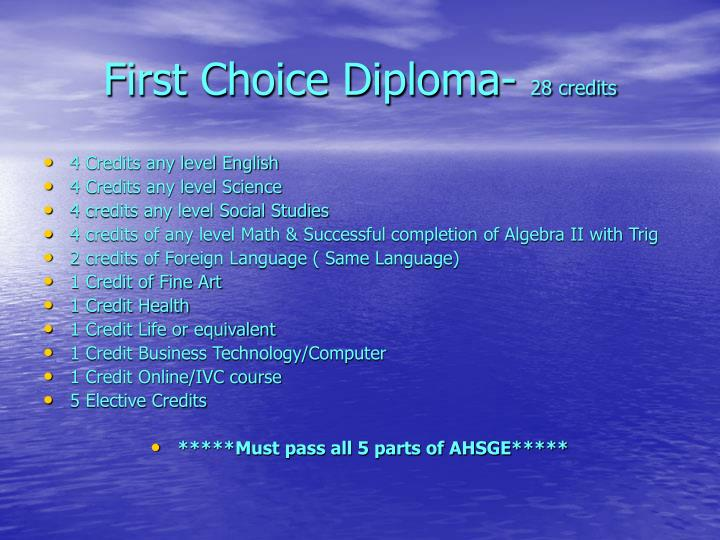 First choice diploma 28 credits