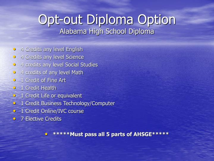 Opt-out Diploma Option