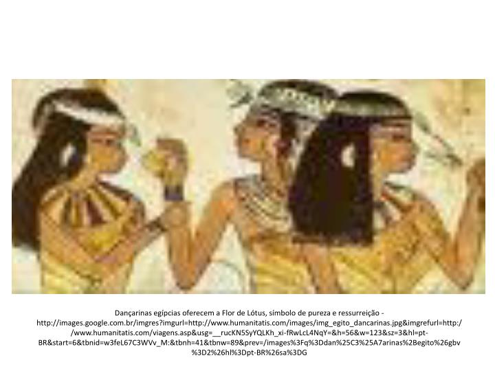 Dançarinas egípcias oferecem a Flor de Lótus, símbolo de pureza e ressurreição - http://images.google.com.br/imgres?imgurl=http://www.humanitatis.com/images/img_egito_dancarinas.jpg&imgrefurl=http://www.humanitatis.com/viagens.asp&usg=__rucKN5SyYQLKh_xi-fRwLcL4NqY=&h=56&w=123&sz=3&hl=pt-BR&start=6&tbnid=w3feL67C3WVv_M:&tbnh=41&tbnw=89&prev=/images%3Fq%3Ddan%25C3%25A7arinas%2Begito%26gbv%3D2%26hl%3Dpt-BR%26sa%3DG