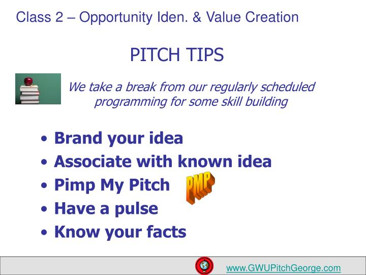 PITCH TIPS