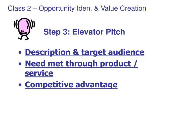 Step 3: Elevator Pitch