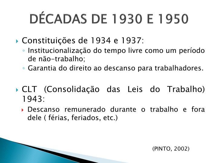 DÉCADAS DE 1930 E 1950