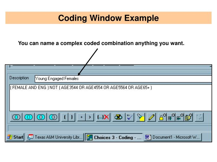 Coding Window Example