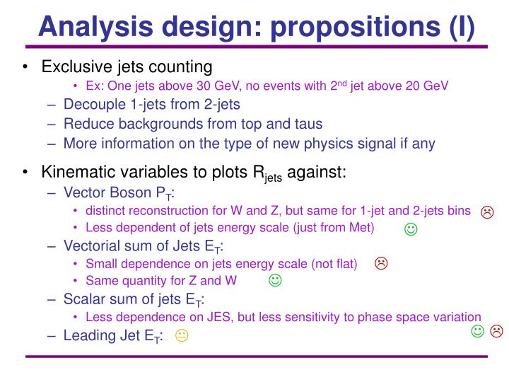 Analysis design: propositions (I)