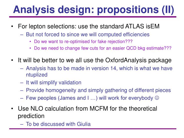 Analysis design: propositions (II)
