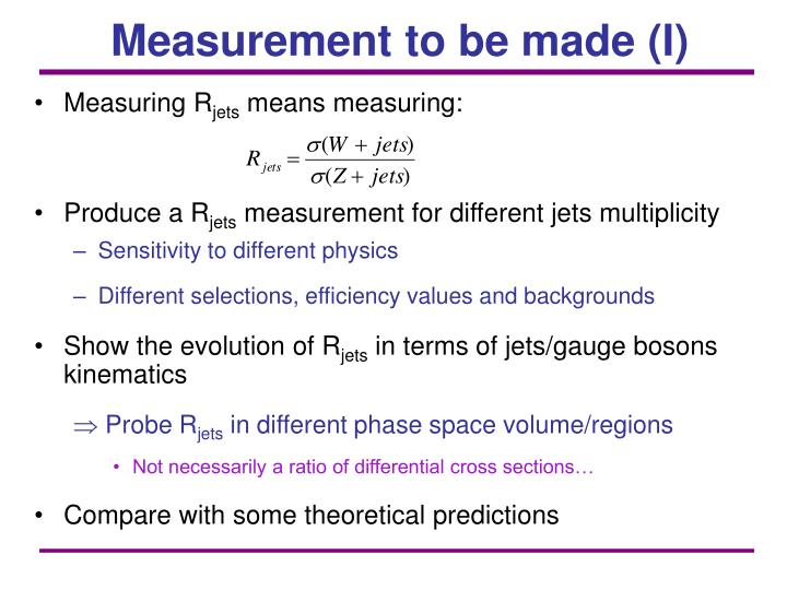 Measurement to be made (I)