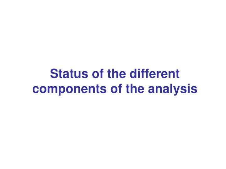 Status of the different components of the analysis
