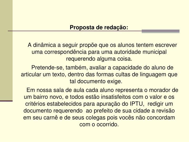 Proposta de redação: