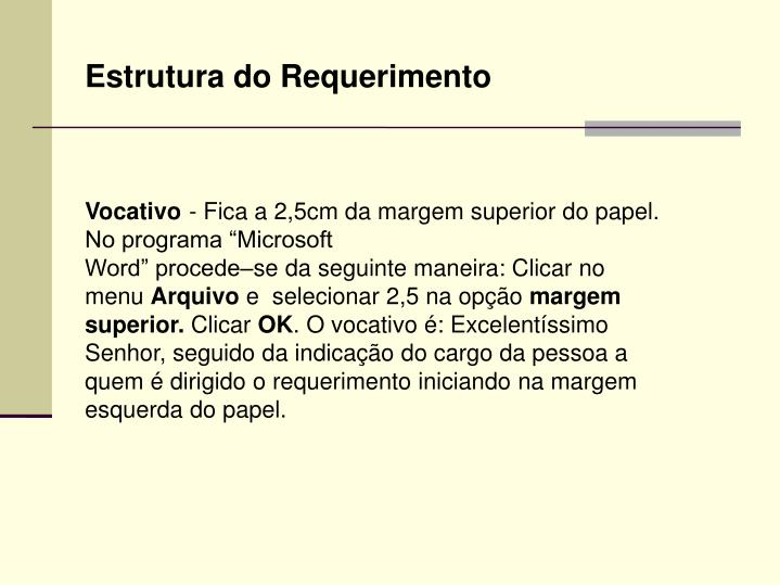 Estrutura do Requerimento