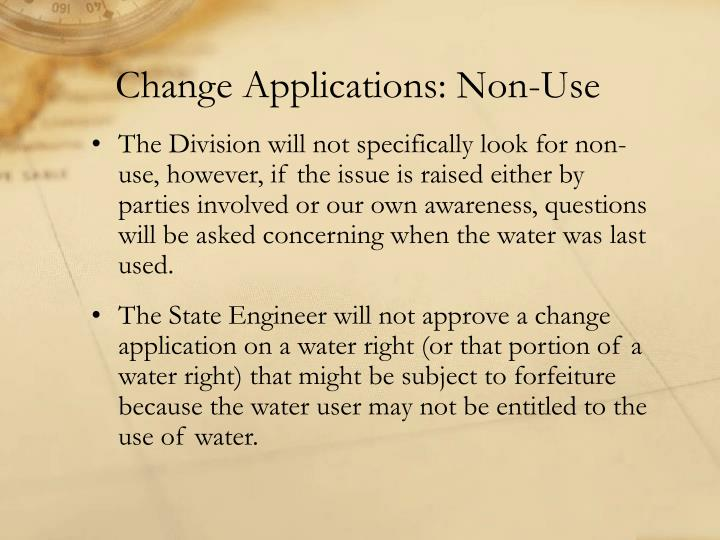 Change Applications: Non-Use