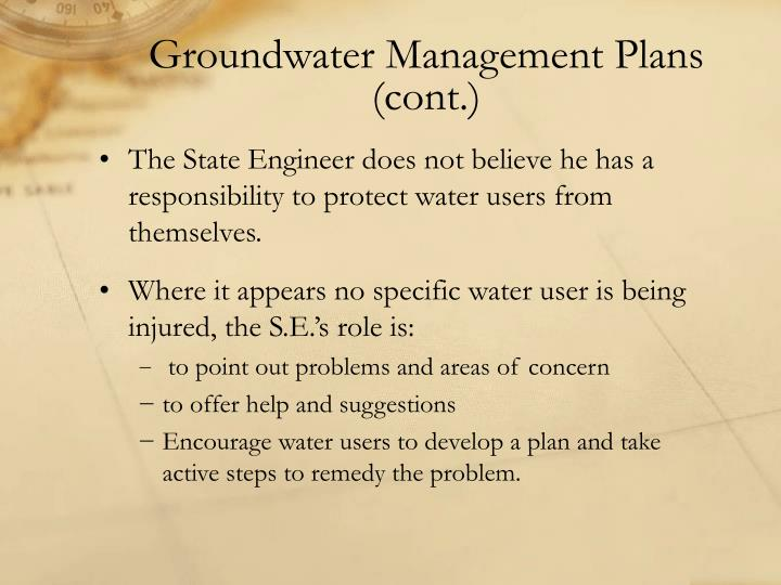 Groundwater Management Plans (cont.)