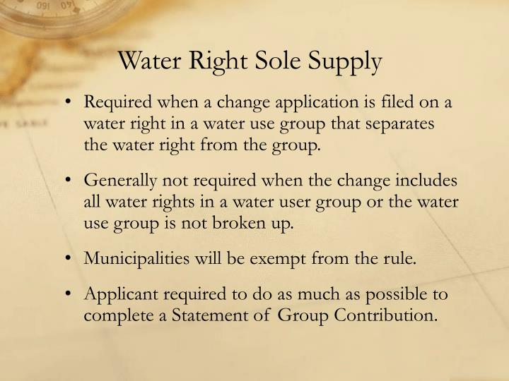Water Right Sole Supply