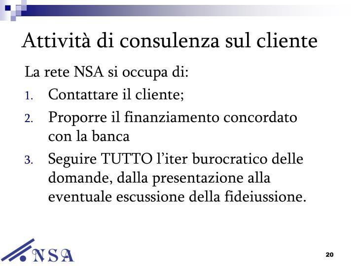 Attività di consulenza sul cliente