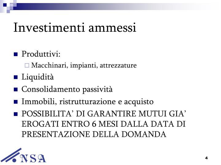 Investimenti ammessi