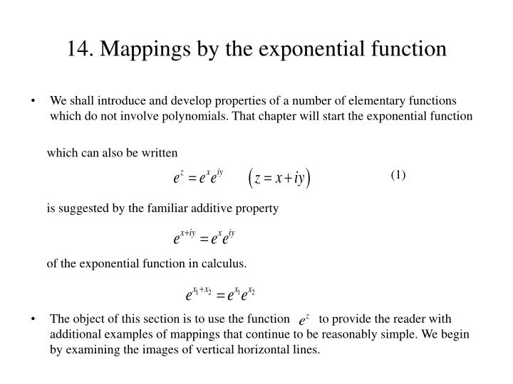 14 mappings by the exponential function