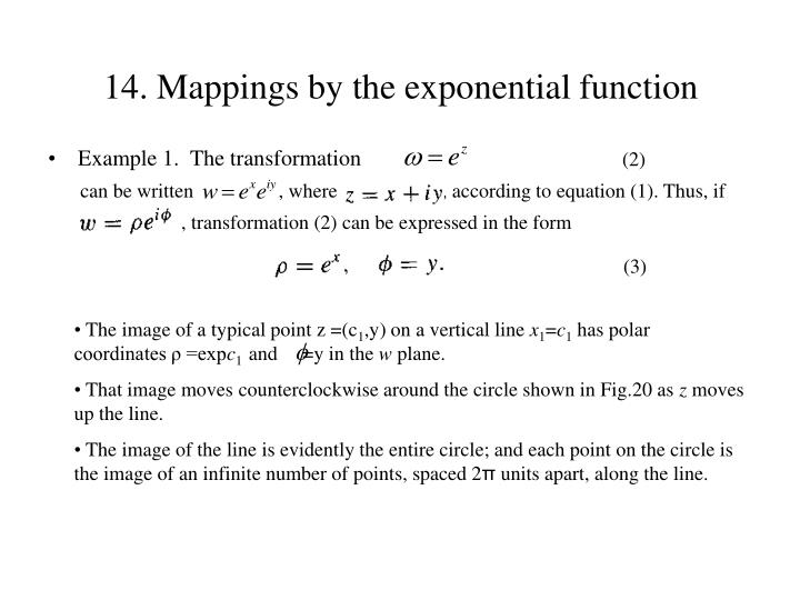 14. Mappings by the exponential function