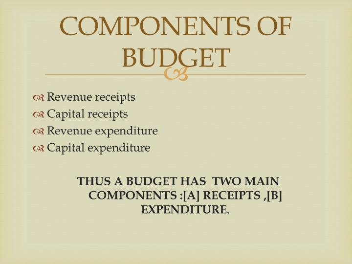 COMPONENTS OF BUDGET