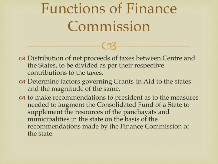 Functions of Finance Commission
