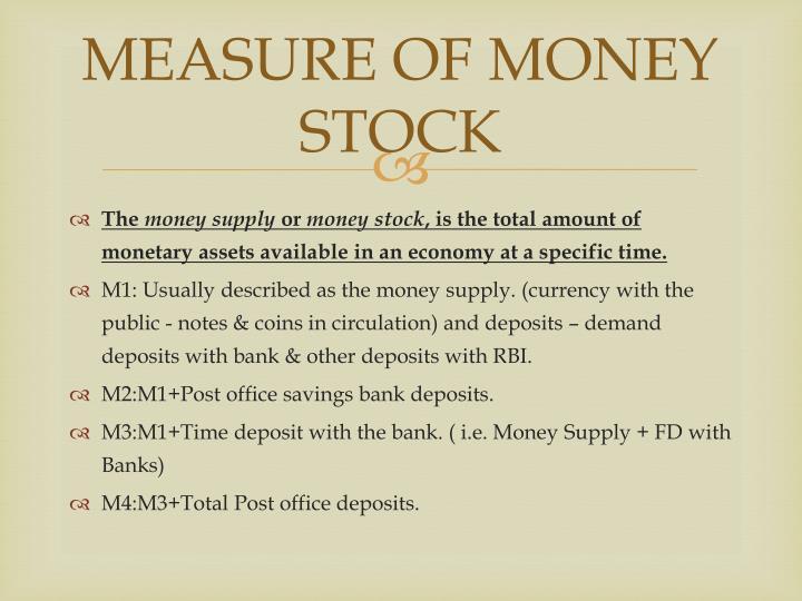 MEASURE OF MONEY STOCK