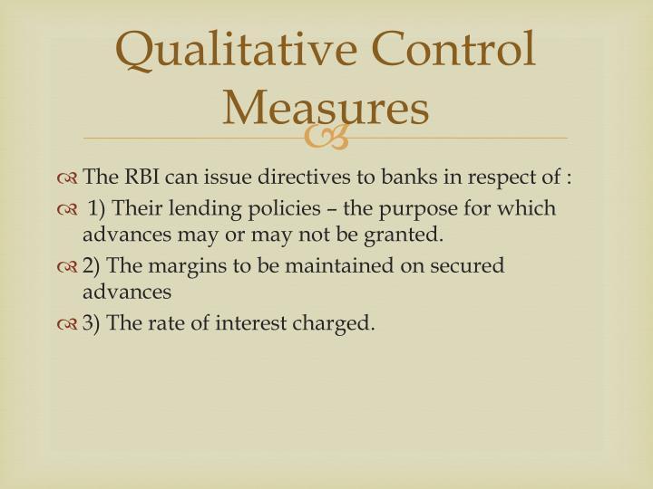 Qualitative Control Measures