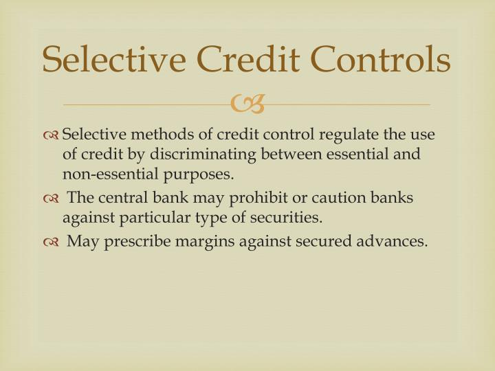 Selective Credit Controls