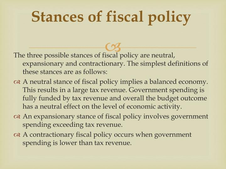 Stances of fiscal policy