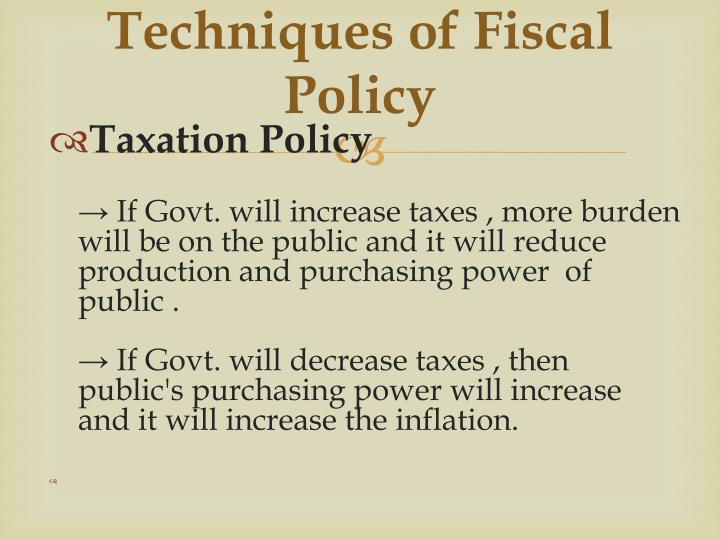 Techniques of Fiscal Policy