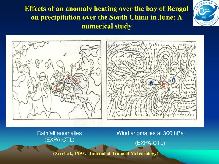 Effects of an anomaly heating over the bay of Bengal on precipitation over the South China in June: A numerical study