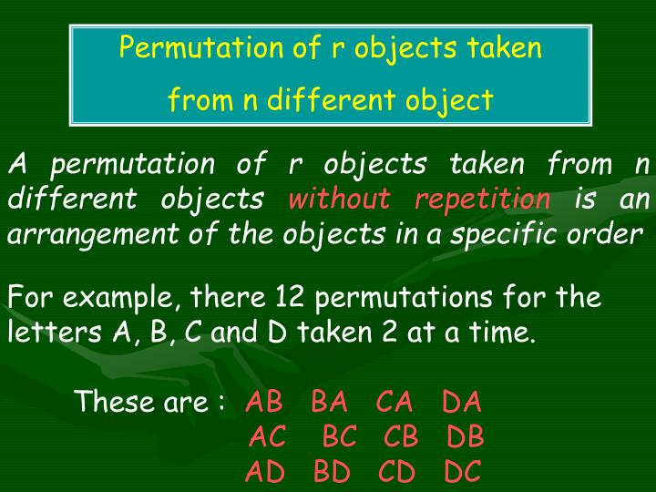 Permutation of r objects taken