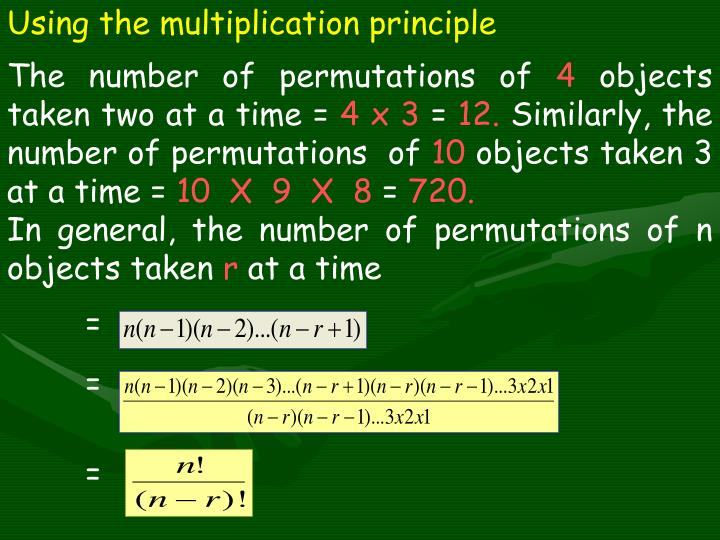 Using the multiplication principle