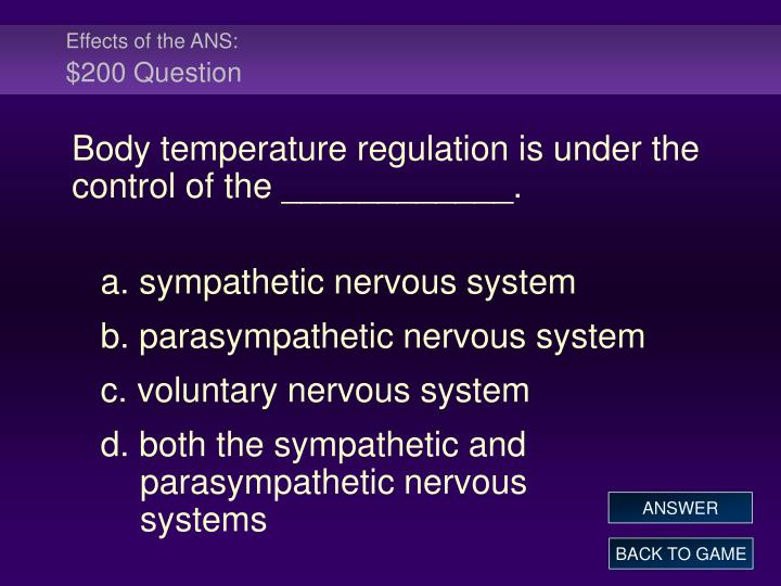Effects of the ANS: