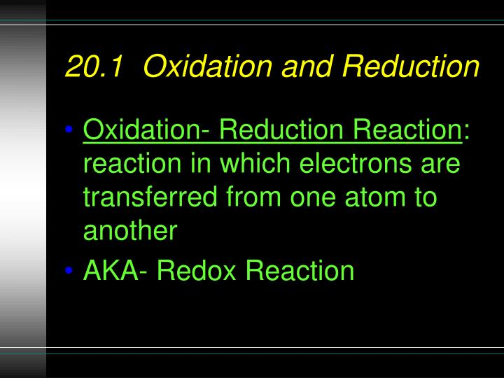 20 1 oxidation and reduction