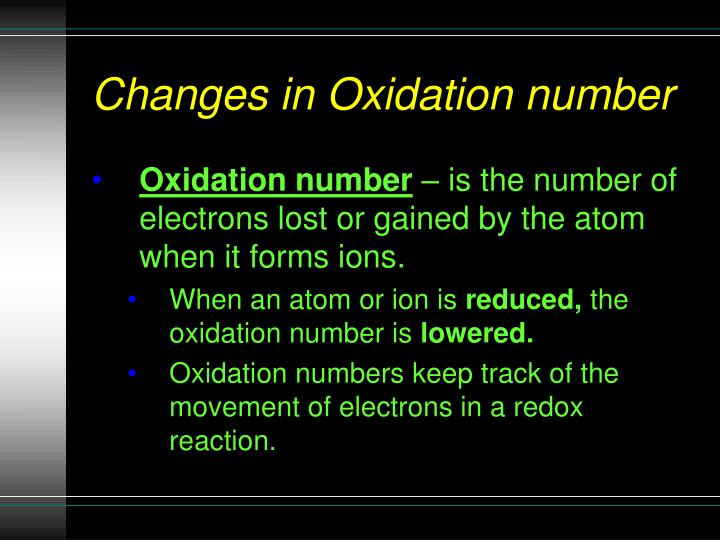 Changes in Oxidation number