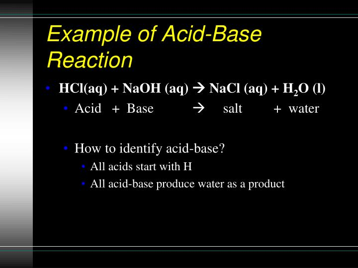 Example of Acid-Base Reaction